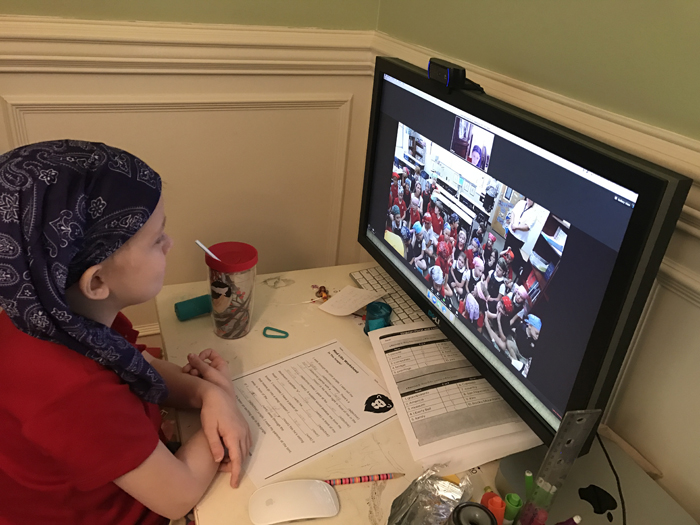 Marbutt looks on from her home as fellow students wear bandanas in her honor. (CONTRIBUTED)