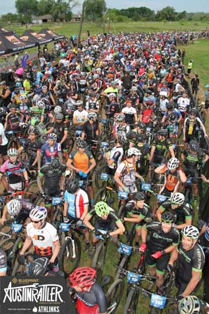 Many racers from across the country get ready to compete in the Austin Rattler 100K solo bike race.