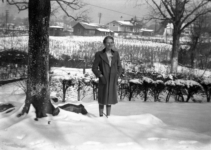 Fascination with snow, 1948.Time stops when it snows in Alabama. Bertha England commemorated the occasion with a photograph in front of her home.In the background can be seen (left to right) the old jail, the old freight house and the L&N Railroad depot. The freight house is now the home of the Depot Deli located next to the Buck Creek Dam. (Contributed/City of Helena Museum)
