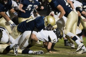 Champ Stewart makes a tackle for Briarwood earlier in the year. Stewart was named to the First Team defense in Class 5A after he helped lead the Lions to the semifinals of the AHSAA playoffs. (File)