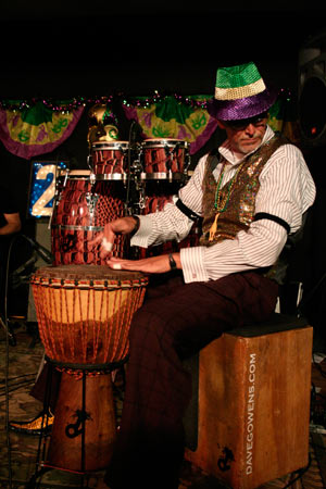 Dave Gowens of 2 BLU and the Lucky Stiffs wears his most festive attire for this fun New Orleans style event.