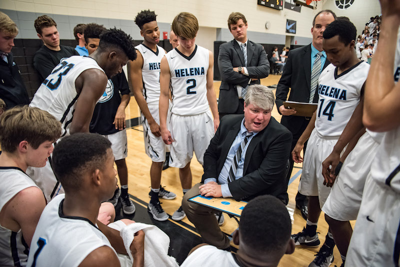Laatsch draws up a play for his team during a timeout in the Pelham game back on Jan. 20. A game the head coach said had a teachable moment after losing 55-53 to the No. 1 team. (Reporter photo/Keith McCoy)