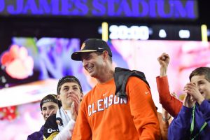 Swinney after the National Championship victory over Alabama. (Contributed)