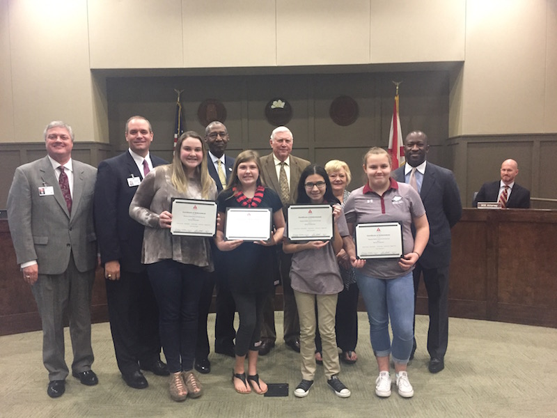 The Thompson Middle School Girls' Bowling team was recognized for their achievements this year during a recent Alabaster Board of Education meeting. (Photo by Emily Reed.)